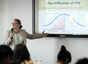 Prof. Susan Franck teaching at the Arbitration Academy.