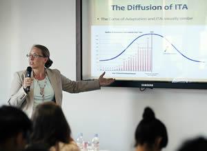 Prof. Susan Franck teaching at the Arbitration Academy.